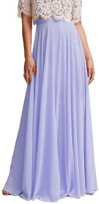 Omleas Omelas Women Long Floor Length Chiffon High Waist Skirt Maxi Bridesmaid Pary Dress (, M)