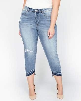 Addition Elle L&L Authentic Cropped Skinny Jeans with Asymmetric Hem
