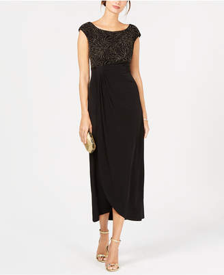 Connected Embellished Velvet Draped Gown