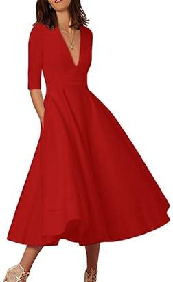 YMING Women's Elegant Half Sleeve Deep V Neck High Waist Vintage Swing Dress 2XL