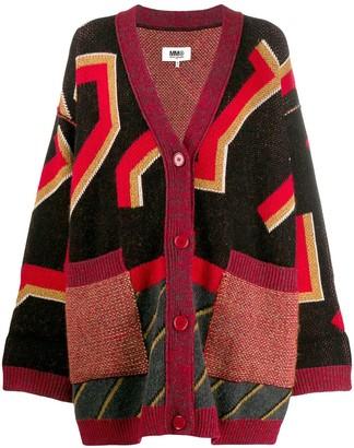 MM6 MAISON MARGIELA geometric print cardigan coat