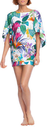 Trina Turk Amazonia Floral 1/2-Sleeve Tunic Coverup