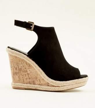 New Look Black Suedette Slingback Peep Toe Cork Wedges