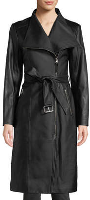 Mackage Estele Belted Long Leather Jacket