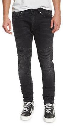 Neil Barrett Skinny Moto Denim Jeans, Slate Gray $595 thestylecure.com