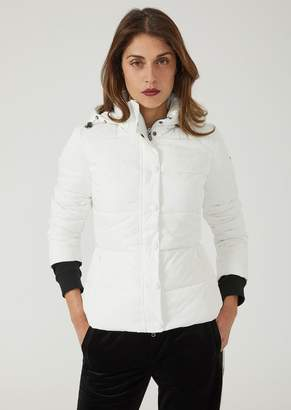 Emporio Armani Quilted Nylon Twill Jacket With Hood
