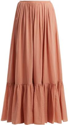 LOUP CHARMANT Flores tiered cotton maxi skirt