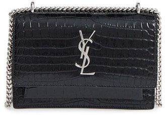 Saint Laurent Mini Monogram Sunset Croc Embossed Leather Shoulder Bag - Black $1,550 thestylecure.com