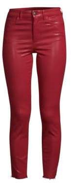 Joe's Jeans Women's Charlie High-Rise Distressed Coated Skinny Ankle Jeans - Ruby Red - Size 24 (0)