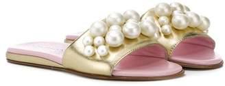 Mi Mi Sol faux pearl embellished slides