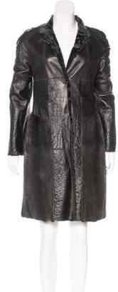 Fendi Persian Lamb Shearling Mink Fur-Trimmed Coat