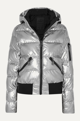 Goldbergh - Aura Hooded Appliquéd Quilted Metallic Down Ski Jacket - Silver