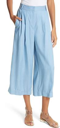 Tibi Drape Chambray Pleated Crop Wide Leg Pants