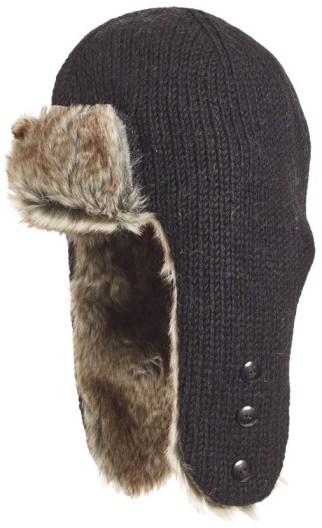 Women's Nirvanna Designs Earflap Hat With Faux Fur Trim - Black