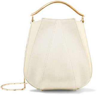 Pepper Mini Paneled Canvas And Leather Shoulder Bag - Cream