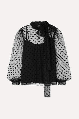 Costarellos Bow-embellished Polka-dot Flocked Tulle Blouse - Black