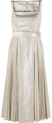 Emilia Wickstead Ingrid Pleated Metallic Coated-jersey Dress - Silver