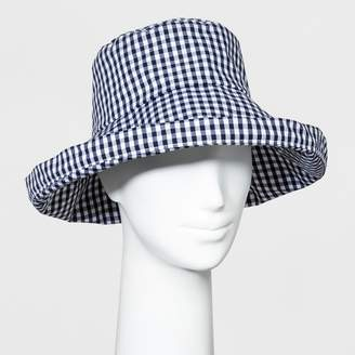 A New Day Women's Gingham Kettle Bucket Hat Navy/White