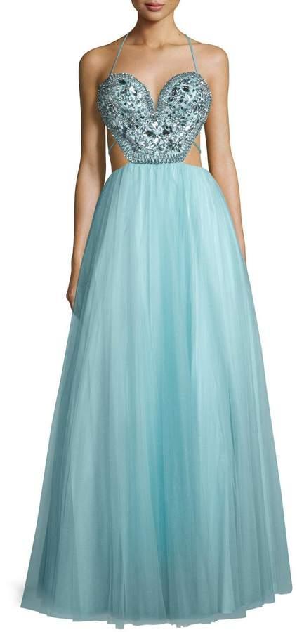 Mignon Embellished-Bodice Gown W/Strappy Back, Aqua