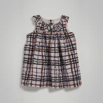 Burberry Gathered Scribble Check Print Silk Dress , Size: 2Y