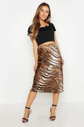 boohoo Petite Satin Tiger Print Bias Cut Midi Skirt