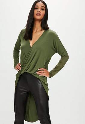 Missguided Khaki Drape Twist Front Long Sleeve Tunic Top