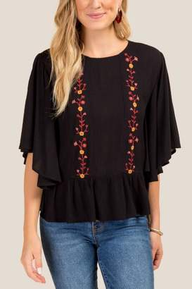 francesca's Evelyn Embroidered Peplum Blouse - Black