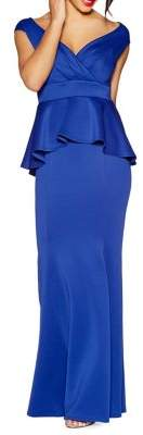 Quiz Wrap-Front Peplum Maxi Gown
