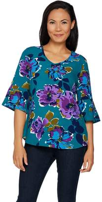 Denim & Co. Studio by Floral Print 3/4 Bell Sleeve Woven Top