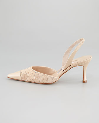 Manolo Blahnik Irie Patent Leather and Quilted Cork Mid Heel Halter