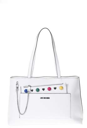 Love Moschino White Shopping Bag Multicolored Studs Details