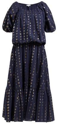 Rhode Resort Frida Heart Fil Coupe Cotton Blend Midi Dress - Womens - Navy