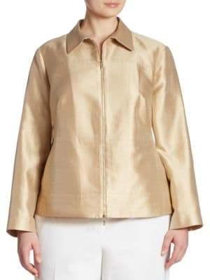 Lafayette 148 New York Plus Adaya Silk-Blend Shantung Jacket