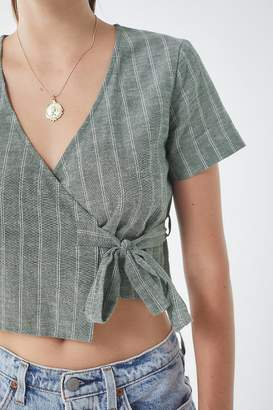 Urban Outfitters Striped Wrap Cropped Top