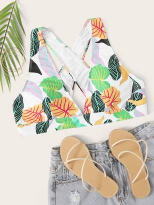 Shein Plus Tropical Criss Cross Bikini Top