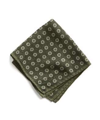 Todd Snyder Italian Wool Large Dot Green Pocket Square