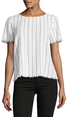 Vince Camuto Striped Short-Sleeve Linen Top