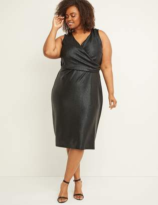 Lane Bryant Faux-Wrap Shimmer Sheath Dress