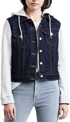 Levi's Levis Women's Hooded Mixed-Media Trucker Jacket