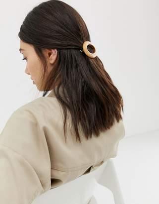 Asos Design DESIGN barette hair clip in round shape in wood