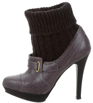 Stella McCartney Leather Knit-Trimmed Booties