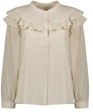 Masscob Sale - Ruffled Silk Noil Blouse