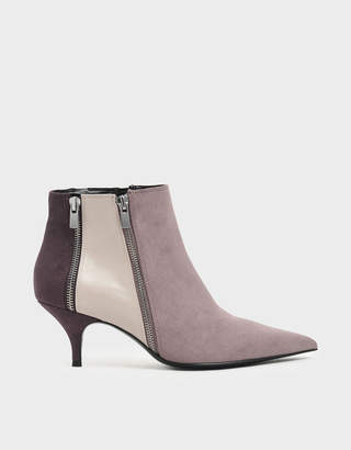Charles & Keith Croc-Effect Wrinkled Patent Zip-Up Kitten Heel Ankle Boots