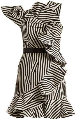 Self-Portrait One-shoulder striped dress
