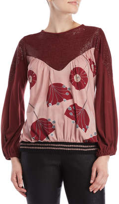 Save The Queen Printed Color Block Blouson Sleeve Top