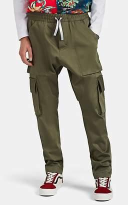 LOST DAZE Men's Cotton Drawstring Cargo Trousers - Olive