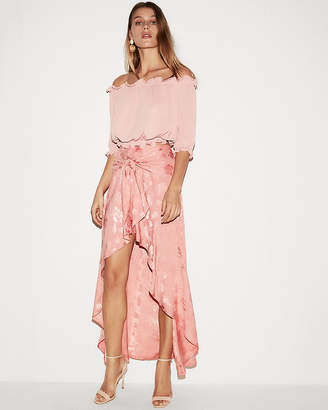 Express High Waisted Floral Ruffle Hi-Lo Maxi Skirt