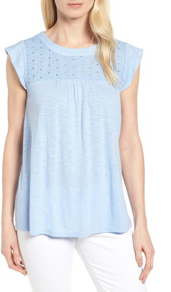 Caslon Eyelet Detail Baby Doll Top