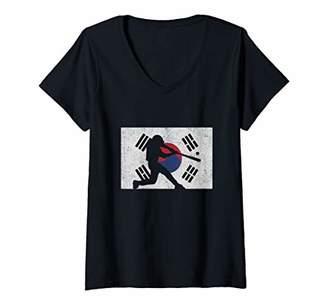 Womens Love Baseball Gift South Korean Flag V-Neck T-Shirt