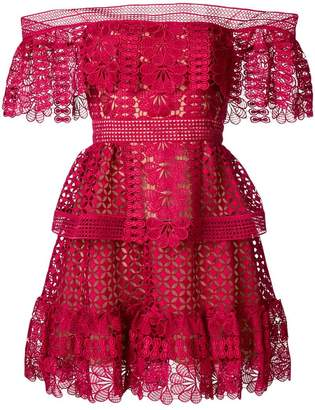 Self-Portrait bardot crocheted dress